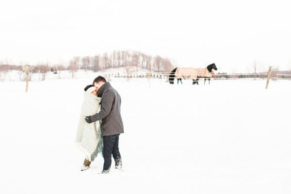 Georgian Bay Winter Engagement Session | Prianka and Nick
